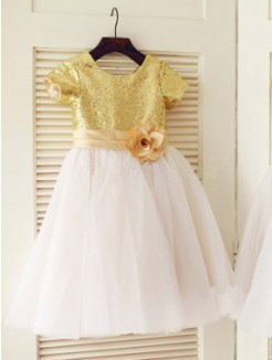 A-line/Princess Scoop Short Sleeves Sequin Floor-length Tulle Dresses