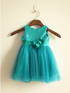 A-line/Princess Scoop Sleeveless Sequin Floor-length Tulle Dresses