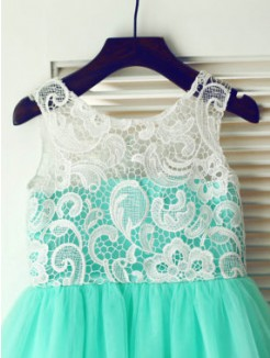 A-line/Princess Scoop Sleeveless Lace Floor-length Tulle Dresses