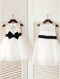A-line/Princess Scoop Sleeveless Bowknot Floor-length Tulle Dresses