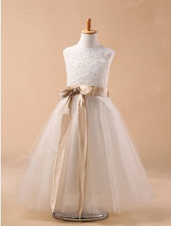 Ball Gown Jewel Sleeveless Bowknot Floor-length Tulle Dresses